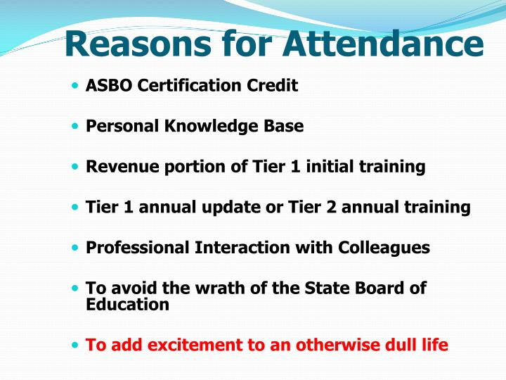 Reasons for Attendance