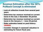 revenue estimation after the 40 pullback concept is eliminated