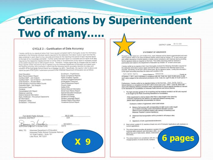Certifications by Superintendent