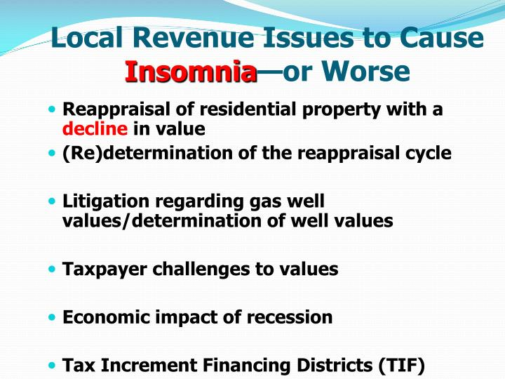 Local Revenue Issues to Cause