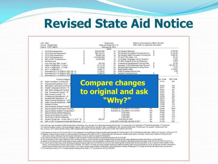 Revised State Aid Notice