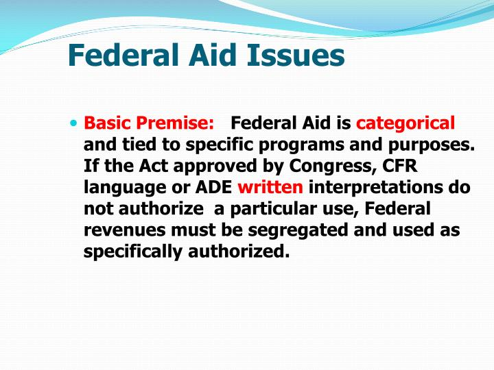 Federal Aid Issues
