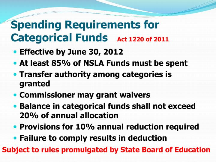 Spending Requirements for Categorical Funds