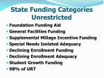 state funding categories unrestricted