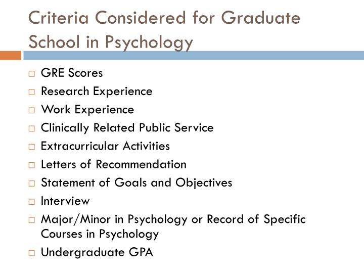 Criteria Considered for Graduate School in Psychology