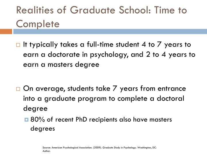 Realities of Graduate School: Time to Complete
