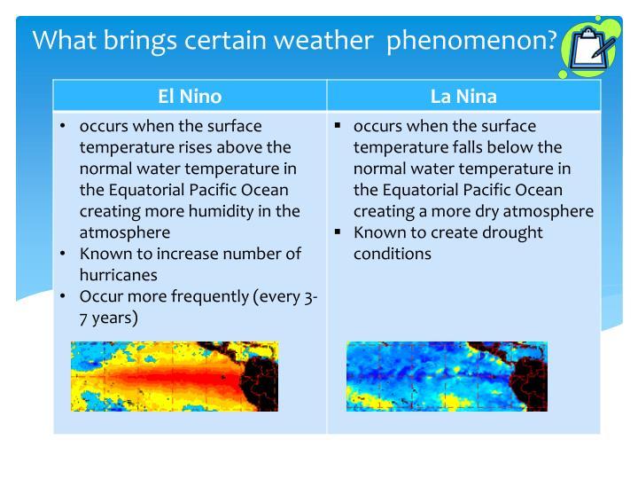 What brings certain weather  phenomenon?