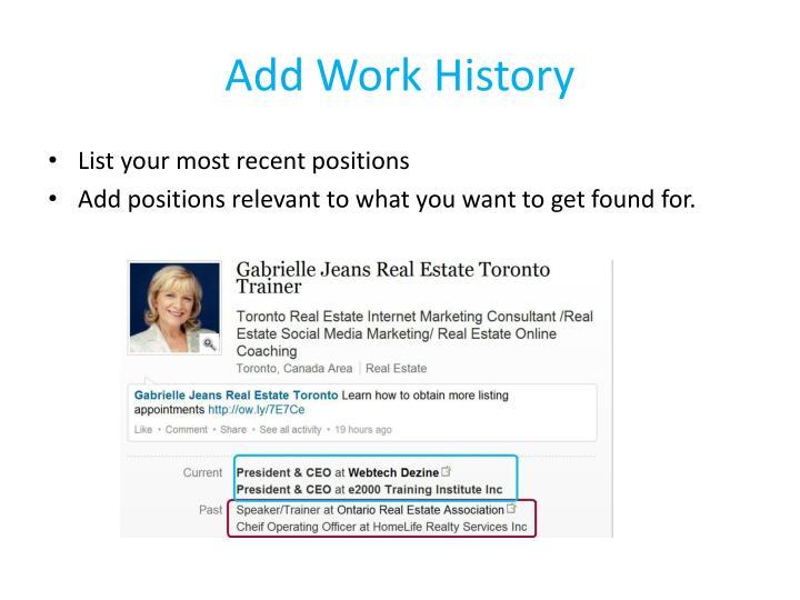 Add Work History