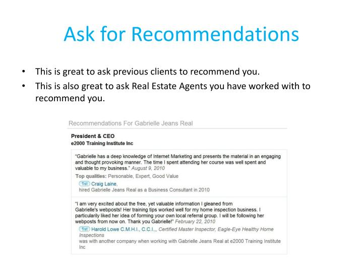 Ask for Recommendations