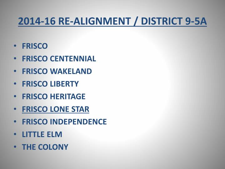 2014-16 RE-ALIGNMENT / DISTRICT 9-5A