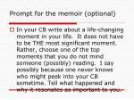 prompt for the memoir optional