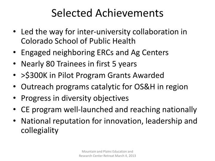 Selected Achievements