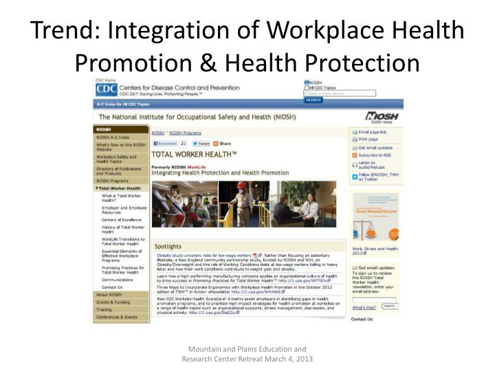 Trend: Integration of Workplace Health Promotion & Health Protection
