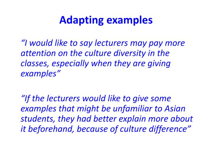 Adapting examples