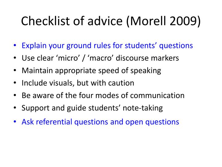 Checklist of advice (