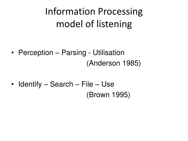 Information processing model of listening