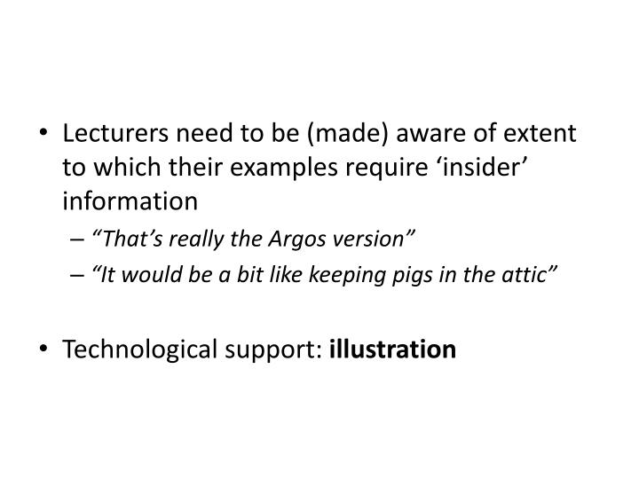 Lecturers need to be (made) aware of extent to which their examples require 'insider' information