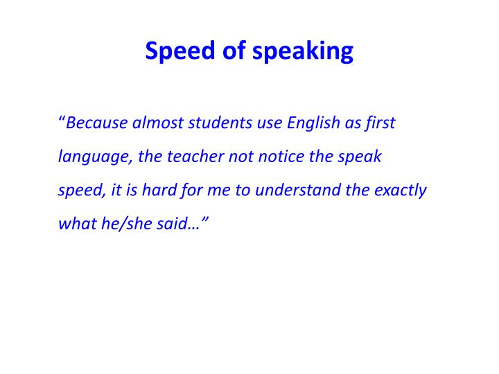 Speed of speaking