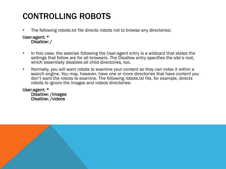 Controlling robots