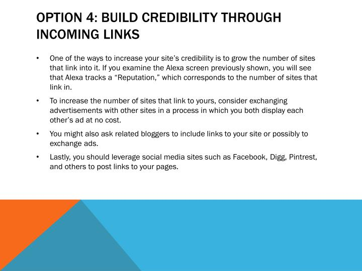Option 4: Build Credibility Through Incoming Links