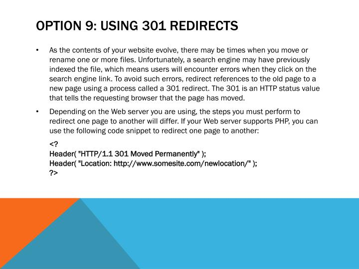 Option 9: Using 301 Redirects