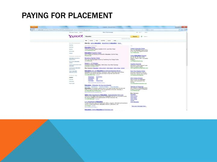Paying for placement