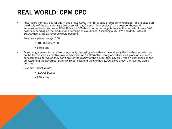 Real world: CPM CPC