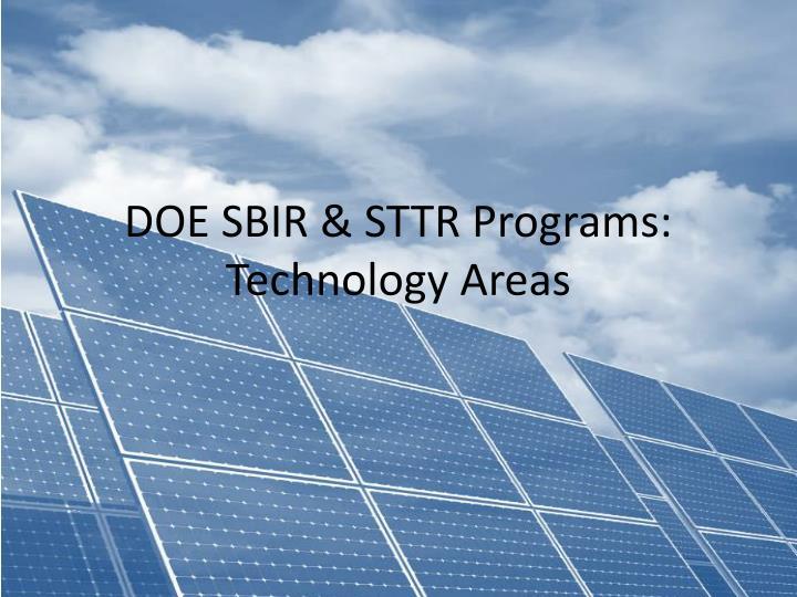 DOE SBIR & STTR Programs: