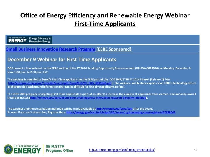 Office of Energy Efficiency and Renewable Energy Webinar