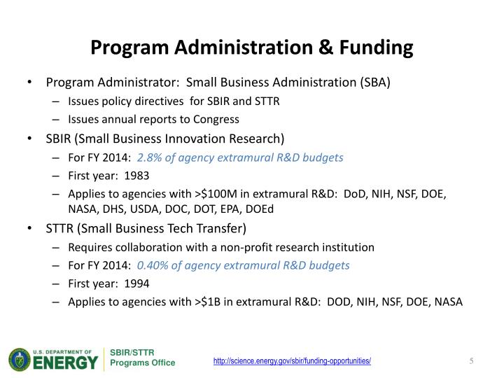 Program Administration & Funding