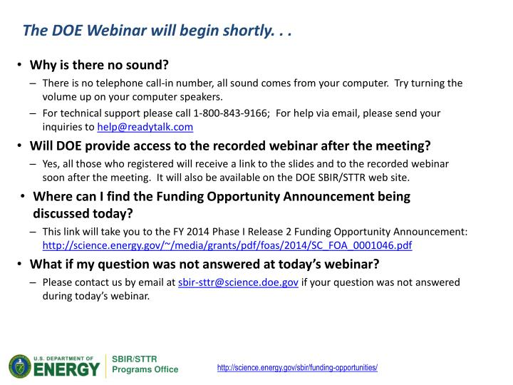 The DOE Webinar will begin shortly. . .