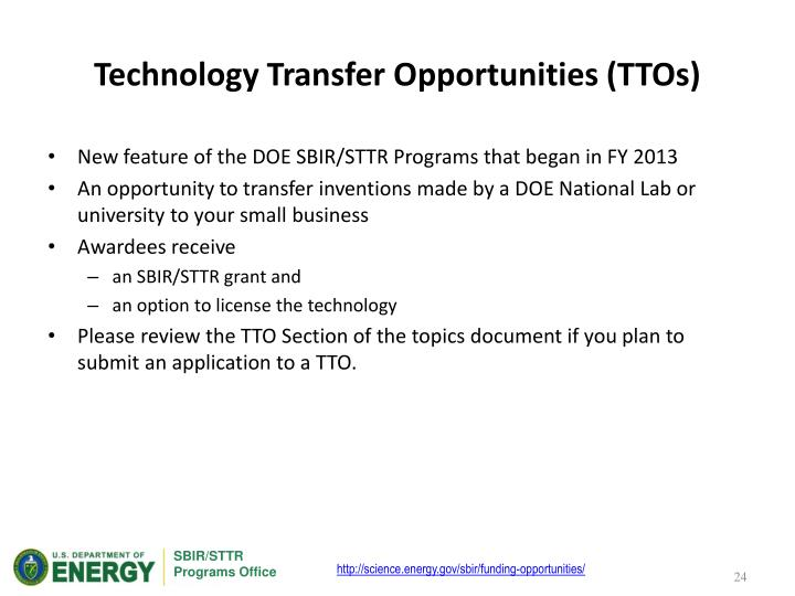 Technology Transfer Opportunities (TTOs)