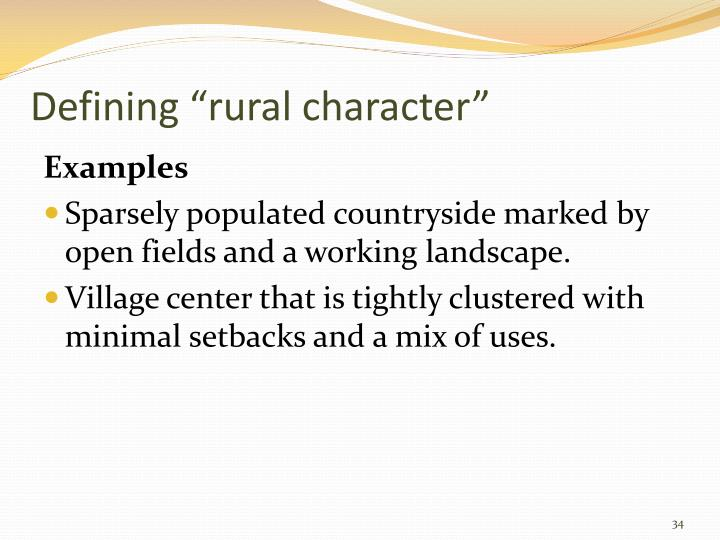 "Defining ""rural character"""