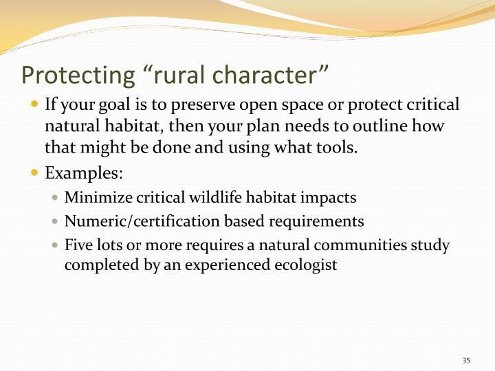 "Protecting ""rural character"""