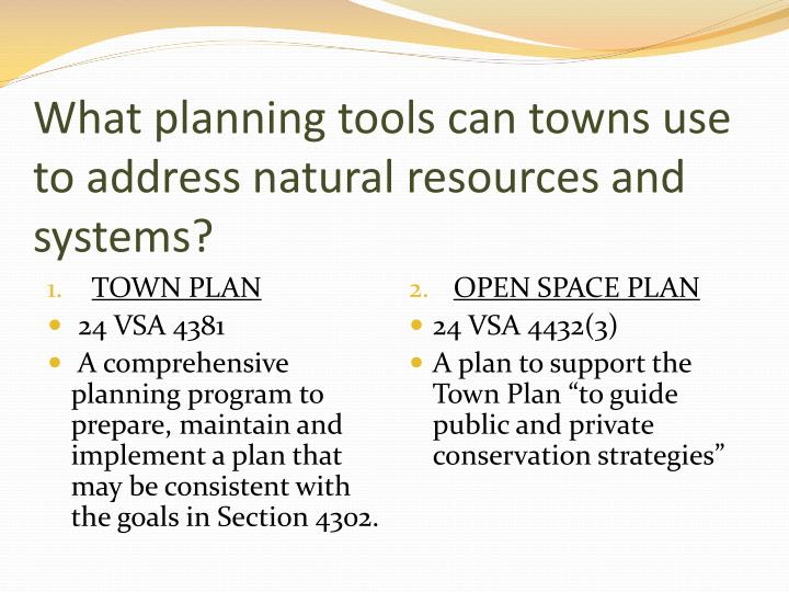What planning tools can towns use to address natural resources and systems?