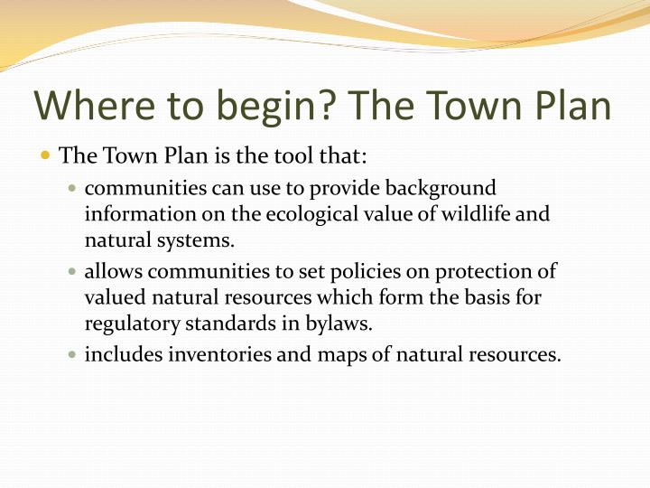 Where to begin? The Town Plan