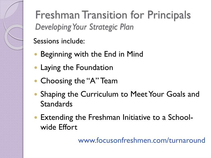 Freshman Transition for Principals