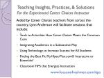 teaching insights practices solutions for the experienced career choices instructor