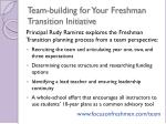 team building for your freshman transition initiative