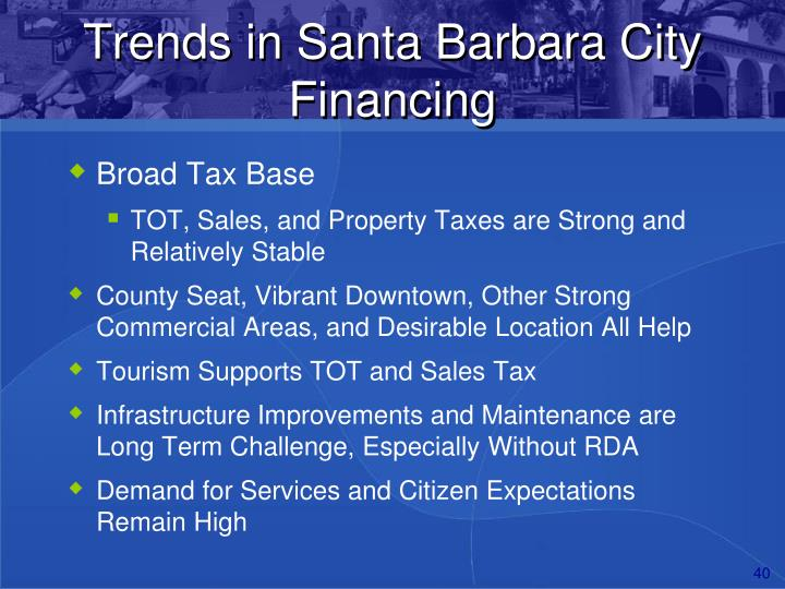 Trends in Santa Barbara City Financing