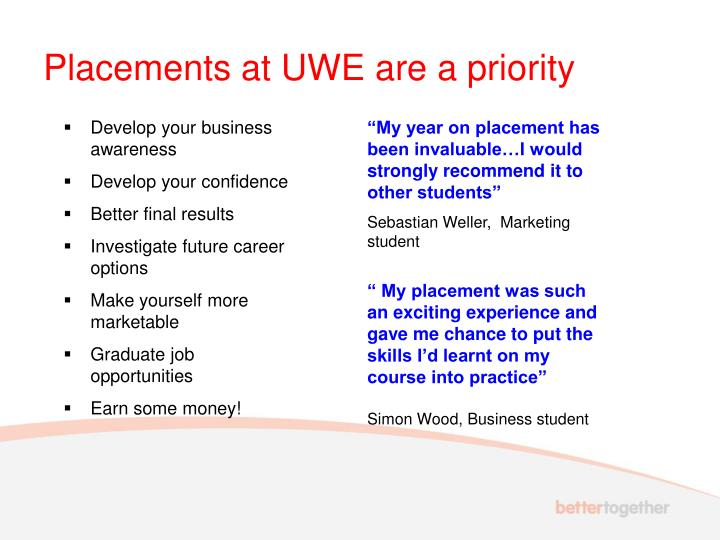 Placements at UWE are a priority