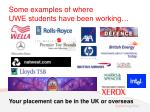 some examples of where uwe students have been working