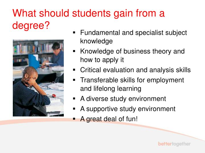 What should students gain from a degree?
