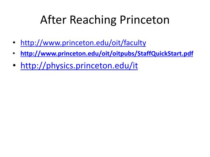 After Reaching Princeton