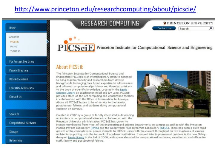 http://www.princeton.edu/researchcomputing/about/picscie/