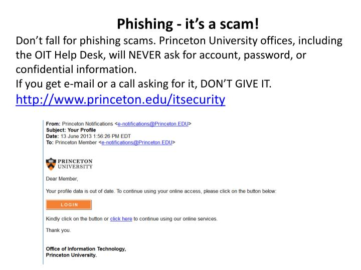 Phishing - it's a scam
