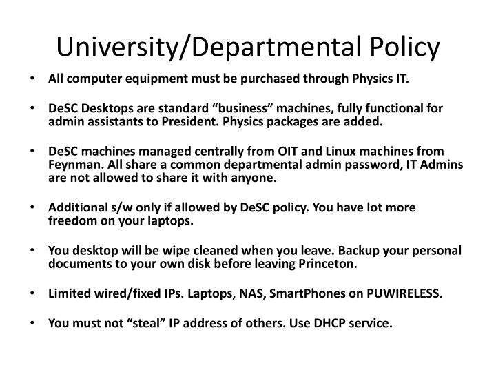 University/Departmental Policy