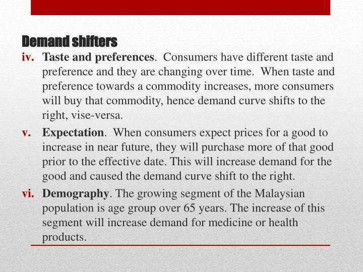 Taste and preferences