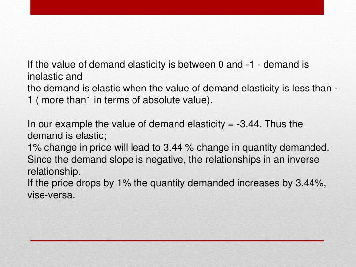 If the value of demand elasticity is between 0 and -