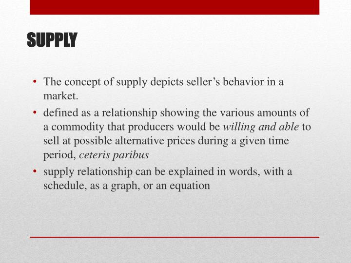 The concept of supply depicts seller's behavior in a market.